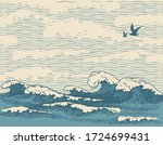 Vector Hand Drawn Seascape In...