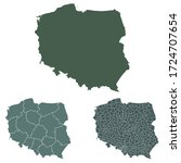 poland map outline vector with... | Shutterstock .eps vector #1724707654