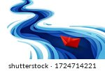 the journey of the origami red... | Shutterstock .eps vector #1724714221