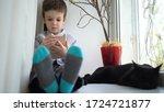 portrait of cute boy sitting...   Shutterstock . vector #1724721877