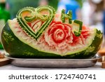 Carved Watermelon Floral...