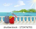 Seaside Promenade And Suitcase...