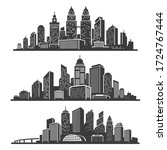 Set of cityscape black silhouettes with buildings, skyscrapers, bridge, tower, landmark. Urban landscape icons, panorama of metropolis. Central business district of big city. Vector isolated on white.