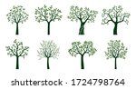 set green trees with leaves.... | Shutterstock .eps vector #1724798764
