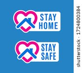 stay home icon and button for...   Shutterstock .eps vector #1724800384
