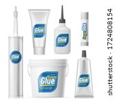 set of glue containers  bottles ... | Shutterstock .eps vector #1724808154