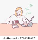 woman worried about paying... | Shutterstock .eps vector #1724832697