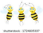 big set of cartoon cute bee... | Shutterstock .eps vector #1724835337