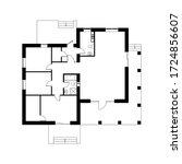 black  floor plan of a modern... | Shutterstock .eps vector #1724856607