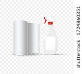 cleaning spray bottle with... | Shutterstock .eps vector #1724860351