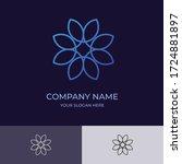 flower logo design with blue...   Shutterstock .eps vector #1724881897