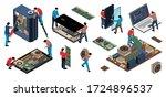 isometric electronics... | Shutterstock .eps vector #1724896537