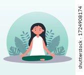 yoga  meditation. girl... | Shutterstock .eps vector #1724908174