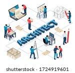 architect isometric flowchart... | Shutterstock .eps vector #1724919601