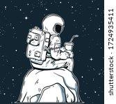 astronaut vector illustration.... | Shutterstock .eps vector #1724935411