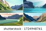 set of beautiful fjord...   Shutterstock .eps vector #1724948761