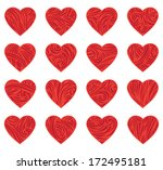 set of red vintage hearts.... | Shutterstock .eps vector #172495181