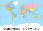world map color political  ... | Shutterstock .eps vector #1724958517