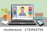 video online conference. video... | Shutterstock .eps vector #1724965744
