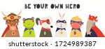 banner  card with cute funny... | Shutterstock .eps vector #1724989387