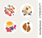 set of plates with beautiful... | Shutterstock .eps vector #1725019177