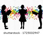 silhouettes of people with a... | Shutterstock . vector #1725032947
