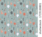 birthday pattern with balloons... | Shutterstock . vector #1725130801