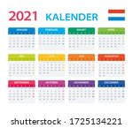 2021 calendar dutch   vector... | Shutterstock .eps vector #1725134221