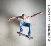 skateboarder jumping against... | Shutterstock . vector #172514045