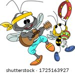 Cartoon Mosquito And Bee...