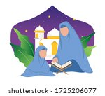 mother and child are reading... | Shutterstock .eps vector #1725206077