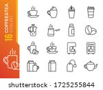 coffee and tea line icons.... | Shutterstock .eps vector #1725255844