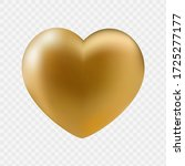 Big Gold Heart Isolated On...