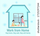 woman is works from home by... | Shutterstock .eps vector #1725297244