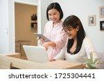 business women working together ... | Shutterstock . vector #1725304441