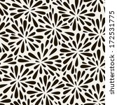 Vector seamless pattern with black flowers. Graphic repeating texture