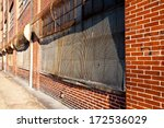 Side view of abandoned brick WWII factory in Martinsburg, WV - stock photo