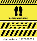 please wait here sign  decal or ... | Shutterstock .eps vector #1725373651