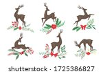brown deer with antlers and... | Shutterstock .eps vector #1725386827