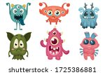 big eyed monsters with horns...   Shutterstock .eps vector #1725386881