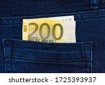 Close Up. Banknote Of 200 Euros ...