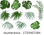 vector set of tropical leaves.... | Shutterstock .eps vector #1725407284