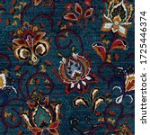 denim floral seamless pattern. ... | Shutterstock . vector #1725446374