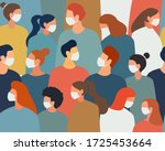 people in white medical face... | Shutterstock .eps vector #1725453664