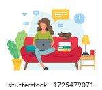 home office concept  woman...   Shutterstock . vector #1725479071