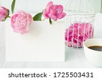 small bird cage with peony...   Shutterstock . vector #1725503431