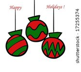 christmas ornaments in green... | Shutterstock . vector #17255374