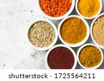 Spices And Condiments In White...
