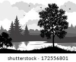 landscape  trees  river and... | Shutterstock .eps vector #172556801