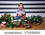 little boy sitting on the floor ... | Shutterstock . vector #172558301